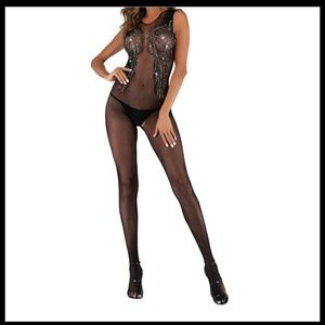 NEW Sexy Bling Fishnet Bodystocking Lingerie #D30L